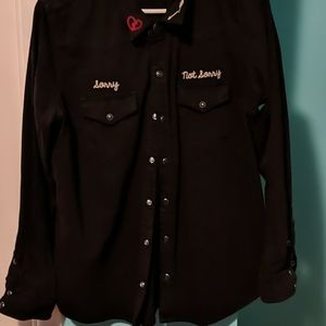 Black denim lucky brand button up shirt